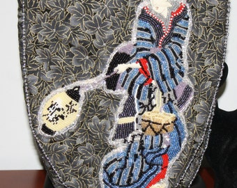 Hand Beaded Purse Geisha Collection Blue and Black