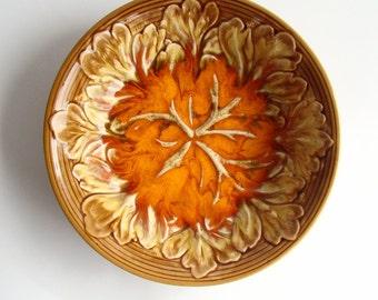 1970s Fruit Bowl, Ceramic Bowl, Orange Glaze, 70s Home, Decorative Dish, Salad Bowl, Retro 70s