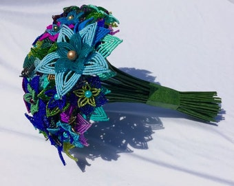 Large Peacock French Beaded Flower Wedding Bouquet