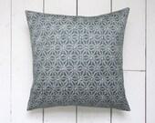 "Grey and White Geometric Pattern Vintage Kimono Cushion Pillow 'Shibori Stars' (14"" x 14"")"
