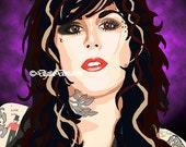 Pre-made Art Rendering Kat Von D 8X10 or 11x14 Digital Art Tattoos, High Voltage Tattoo