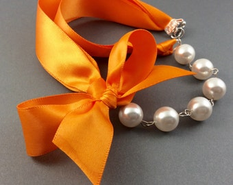 Pearl and Ribbon Necklace With Swarovski Crystal White Pearls and Tangerine Satin Ribbon