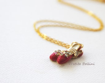 Ballerina Shoes Necklace in Gold and Raspberry (PNL-39). Red Ballet Shoes Necklace. Sweet Gift. Gift For Girls