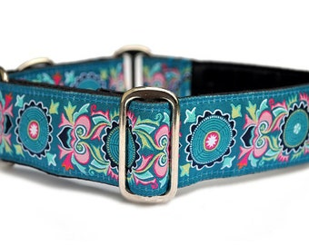 Martingale Dog Collar or Buckle Dog Collar - Medallion Jacquard - 1.5 Inch