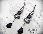 Jet Crystal Gothic Earrings, Black Victorian Earrings, Victorian Jewelry, Gothic Jewelry