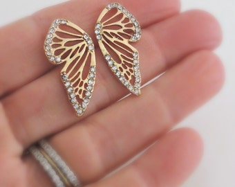 Gold Earrings - Butterfly Earrings - Crystal Earrings - Butterfly wings - Stud Earrings