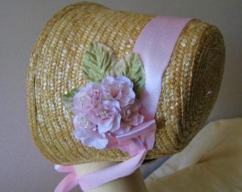 Regency/Victorian Straw Bonnet. Jane Austen. Pale Pink Trim