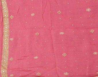 Vintage Shawl/Stole. Regency Style. Pink,  gilt embroidery
