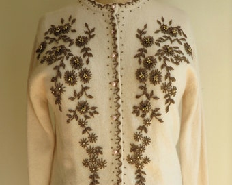 "Vintage 1960's/Ivory Beaded Sweater/60's Creme Beaded Cardigan/Bronze Glass Beads/Lambswool/38"" Bust/Medium/Large"