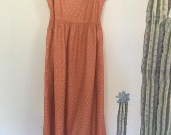 Vintage 70s Peach & White Polka Dot Lace Trim Maxi Dress