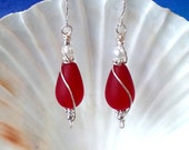 Cherry red seaglass tumbled glass beads earrings beach glass earrings wire wrapped earrings nickel free