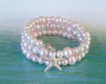 Pink pearl starfish memory wire bracelet beach charm bracelet coastal jewelry gifts for her