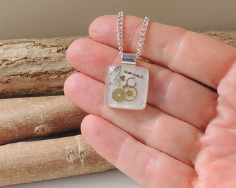 Small Steampunk Necklace, Upcycled Watch Parts in a White Resin Pendant, Steampunk Jewelry, Resin Jewelry Jewellery, UK, 1021