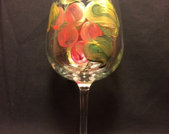 Hand Painted Wine Glass - Grapes 'n Gold - EMH-4