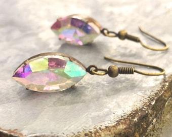 Delicate Wedding Earrings -  Minimal Wedding Jewelry - Gift Earrings for Girlfriend - Marquise Bridal Jewelry - Multicolor Earrings