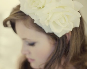 One of a Kind White Floral Bridal Headband - Rose Bridal Headpiece