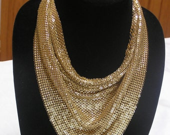 Vintage Whiting and Davis gold  mesh bib necklace and matching earrings