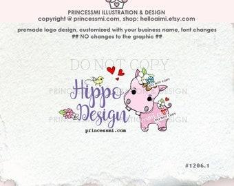 1206-1  hippo logo, Custom Premade Logo Design,  little hippo logo with flowers love hearts, business logo boutique logo
