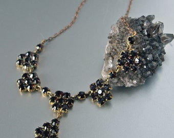 Czech Bohemian Tombak and Faux Garnet Stones Pendants Collier Necklace 1910's