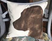 Hand Painted Brown Lab Silhouette Pillow • Dog Portrait Pillow • Labrador Retriever Profile Outline • Ready to Ship
