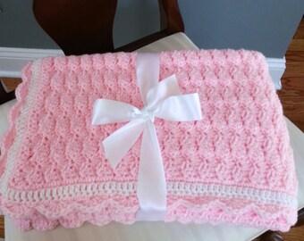 Crochet Baby Blanket - Crochet Baby Afghan - Crochet Pink Shell Baby Blanket - READY TO SHIP