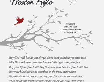Confirmation Gift for Boy-Godson Grandson Son Nephew Brother Confirmation Gift-May God Walk Beside You Personalized Poetry Print