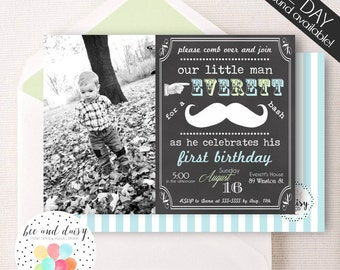 Mustache Birthday Invitation, Mustache Invitation, Mustache Party, Boy First Birthday, Boy Birthday, Chalkboard Mustache Invite, BeeAndDaisy