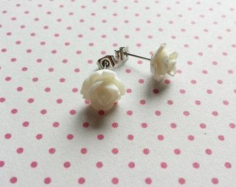 white rose ear stud earrings - white flower bridesmaids gift - free shipping