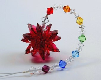 m/w Swarovski® crystal, Red (U Pick Color Starburst Star) SunCatcher Car Charm Ornament & Chakra Strand, Pearl Place N More