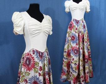 Savannah Prom Dress - Early 40s prom dress - Rayon jersey and  crisp flower skirt - Sm
