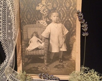 Antique Photo - Girl with Doll - Cross - Vintage Photo