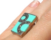 Art Deco Turquoise Ring with Sterling Silver Marcasite Geometric Design - Size 6 Vintage Jewelry