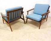 Modern Lounge Chair in Walnut / Sculptural Arms / Blue Fabric / Danish Modern