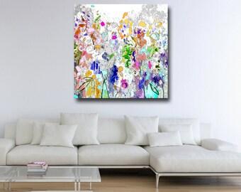 Floral Canvas Print, Floral Giclee Print, Meadow Canvas, Wall Art, Abstract Floral Canvas Print, Expressive Art, Large Floral Canvas