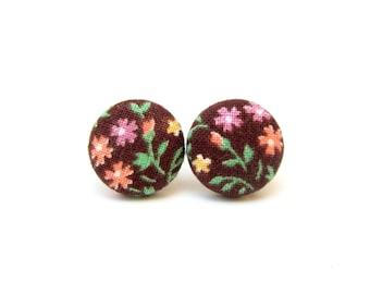 Brown button earrings  - fabric earrings - stud earrings vintage style flower - fall earrings