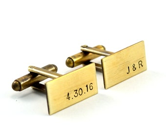 Initial Cufflinks, Custom Cuff Links, Personalised Cufflinks, Monogram Cufflinks, Antiqued Brass Cufflinks