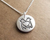 Small Twin Giraffe Necklace, Mini Giraffe Twins Necklace, Fine Silver, Sterling Silver Chain, Made To Order