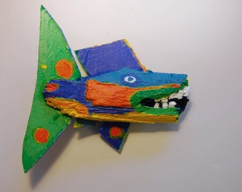 Bright Color Fish Art Ready to Hang in Den, Cabin, Bath, Family Roon, Kitchen or anywhere for Fun and conversation