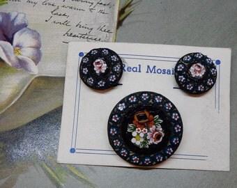 Italian Mosaic Brooch & Clip On Earrings Set New on Card    NAN32