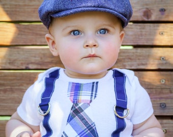 Baby Boy Summer, Father's Day Tie and Suspender Bodysuit.  Coming Home Newborn Baby Boy, Preppy Plaid or Blue Gingham.  Royal Blue Gift