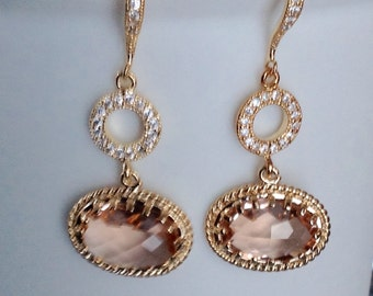 Blush Wedding Jewelry, Wedding earrings, blush wedding earrings, champagne earrings, Wedding Pastel jewelry, Bridesmaid earrings blush