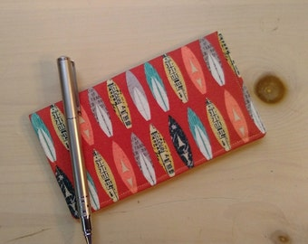 Surfboard Checkbook Cover- Fabric Checkbook Cover- Beach Checkbook Cover- Retro Beach Print- Customizable Checkbook Cover- Beach Life