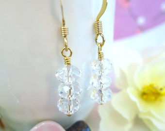 Triple Swarovski crystal drop gold filled earrings, Snow Queen Frozen Crystal Earrings, Ice Cave Alaska Iceland crystal gold filled earrings