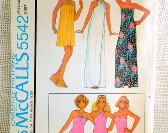 Vintage 1970s sewing pattern McCall's 5542 bathing suit one piece wrap neck coverup maxi Swimsuit Small Bust 34 swim dress halter strapless