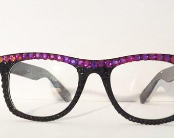 Multicolored Swarovski and Preciosa Crystal Non Prescription Glasses