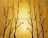 "the Gardener 8"" x 10"" print of an original acrylic painting by Owen Klaas sunshine yellow trees hearts"