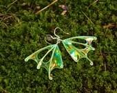 """Fairy Wings, Forest Faerie Wing Earrings, Fern Fairy, Green Wing Earrings, unique silver earrings, """"Fern"""""""