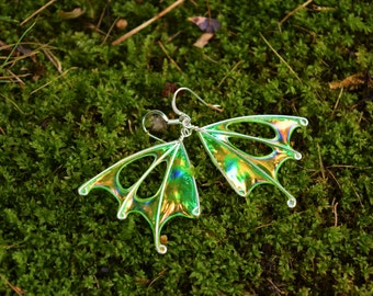 "Fairy Wings, Forest Faerie Wing Earrings, Fern Fairy, Green Wing Earrings, unique silver earrings, ""Fern"""