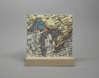 Great Lakes Map Print on Metal for Desk or Shelf Hometown City Boating Gift for Men or Women