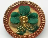 Vintage Molded Lacy Glass Shamrock Button,27mm, 1/ea